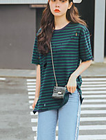 Women's Casual/Daily Simple Fall T-shirt,Striped Round Neck Short Sleeves Cotton Medium