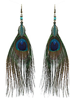Lureme Women's Bohemia Jewelry Natural Peacock Feather Drop Dangle Earrings