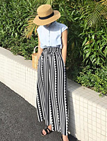 Women's Casual/Daily Simple Summer Shirt Pant Suits,Striped Crew Neck Sleeveless