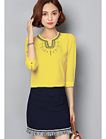 Women's Casual/Daily Simple Summer T-shirt Skirt Suits,Print Sweetheart ¾ Sleeve