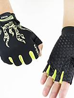 Men's Cotton Nylon Wrist Length Half Finger Soak Off Outdoor Sports Animal Print Spring/Fall Summer Cycling Bike Gloves Black/Green