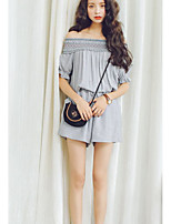 Women's Going out Simple Summer Blouse Pant Suits,Solid Boat Neck Short Sleeve Micro-elastic