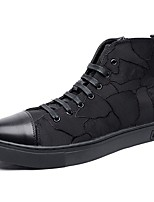 Men's Sneakers Comfort Fabric Spring Fall Casual Lace-up Flat Heel Black Flat
