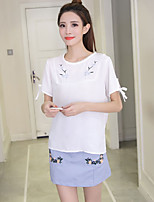 Women's Going out Active Summer T-shirt Skirt Suits,Embroidery Round Neck Short Sleeve