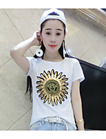 Women's Going out Street chic T-shirt,Print Round Neck Short Sleeves Others