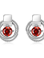 Drop Earrings Women's Fashion Geometric  Silver Style Red Zircon Earrings For Office & Career Party Daily Movie Jewelry