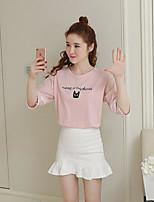 Damen Solide Druck Buchstabe Einfach Lässig/Alltäglich T-shirt,Rundhalsausschnitt Kurzarm Baumwolle