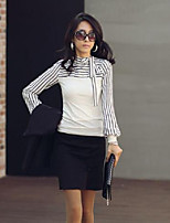 Women's Casual/Daily Simple T-shirt,Solid Striped Round Neck Long Sleeves Cotton