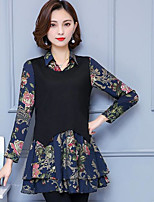 Women's Casual/Daily Sophisticated Shirt,Print Shirt Collar Long Sleeves Others