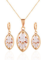Jewelry 1 Necklace 1 Pair of Earrings Rhinestone Wedding Party Alloy Rhinestone 1set Women Gold Silver Wedding Gifts
