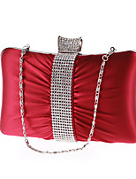 Women Bags All Seasons Polyester Evening Bag Rhinestone for Wedding Event/Party Formal Black Gray Purple Almond Wine