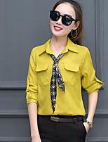 Damen Solide Einfach Lässig/Alltäglich Hemd,Hemdkragen Langarm Andere