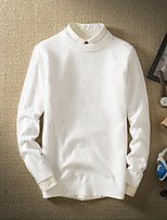 Men's Going out Casual/Daily Short Pullover,Solid Round Neck Long Sleeves Wool Others Spring Fall Thin Micro-elastic