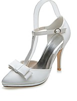 Femme Chaussures de mariage Chaussures formelles Printemps Eté Satin Mariage Soirée & Evénement Noeud Talon Aiguille Argent Ivoire 10 à