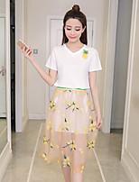 Women's Going out Cute Summer T-shirt Skirt Suits,Print Round Neck Short Sleeve
