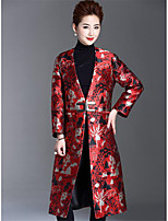 1898 Women's Going out Casual/Daily Simple Vintage Winter CoatSolid Print V Neck Long Sleeve Long Polyester