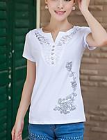 T-shirt Da donna Casual Semplice Con stampe A V Cotone Altro Manica corta