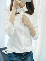 Women's Casual/Daily Simple Shirt,Solid Shirt Collar Long Sleeves Cotton Others