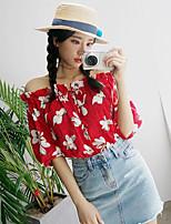 Damen Blumen Einfach Ausgehen Hemd,Bateau Kurzarm Baumwolle
