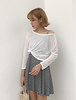 Women's Going out Casual/Daily Simple Summer Blouse Skirt Suits,Solid Striped Round Neck Long Sleeve