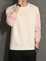 Men's Plus Size Going out Casual/Daily Simple Sweatshirt Solid Color Block Round Neck Micro-elastic Cotton Others Long Sleeve Spring Fall