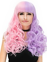 Women Synthetic Wig Capless Long Curly Pink / Purple Natural Wig Halloween Wig Party Wig Carnival Wig Costume Wigs