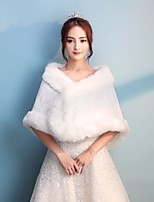 Women's Wrap Capelets Faux Fur Ice Silk Wedding Party/ Evening Full Length Visible Zipper