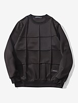 Men's Plus Size Casual Slim Solid Color Plaid Sweatshirts  Cotton Spandex