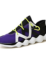 Men's Sneakers Running Comfort Light Soles Fabric Summer Fall Casual Gore Flat Heel Ruby Purple Black Flat