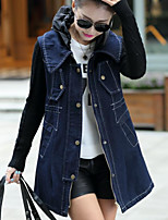 Women's Going out Casual/Daily Simple Fall Winter Denim Jacket,Solid Peter Pan Collar Long Sleeve Long Cotton