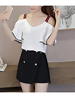 Women's Casual/Daily Simple Blouse,Solid Off Shoulder Short Sleeves Cotton