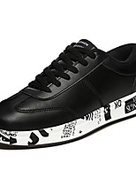 Men's Sneakers Comfort Fall Winter PU Casual Lace-up Flat Heel Ruby Black White Flat