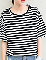 Women's Going out Street chic T-shirt,Striped Round Neck Short Sleeves Cotton