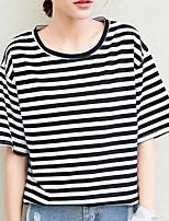 T-shirt Da donna Per uscire Moda città A strisce Rotonda Cotone Manica corta