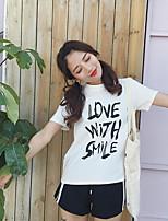 Tee-shirt Femme,Couleur Pleine Lettre Décontracté / Quotidien simple Manches Courtes Col Arrondi Coton