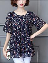 Для женщин На выход На каждый день Лето Осень Блуза Круглый вырез,Простое Очаровательный С принтом С короткими рукавами,Полиэстер,Средняя