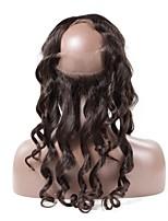 Chiusura frontale del merletto 360 capelli remy brasiliani allentati capelli ricciati pre-pettinati con i capelli del bambino 100%