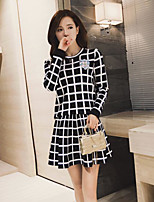 Women's Casual/Daily Simple Spring T-shirt Skirt Suits,Plaid/Check Round Neck Long Sleeve
