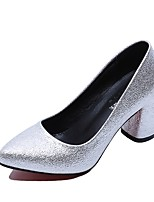 Women's Heels Light Soles PU Summer Casual Dress Block Heel Silver Black Gold 2in-2 3/4in