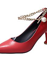 Femme Chaussures à Talons Confort Semelles Légères Eté Polyuréthane Habillé Chaîne Kitten Heel Blanc Noir Rouge 2,5 à 4,5 cm