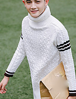 Men's Going out Casual/Daily Simple Short Pullover,Solid Turtleneck Long Sleeves Polyester Spandex Others Spring Fall Medium Micro-elastic