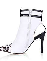 Women's Boots Fashion Boots PU Fall Party & Evening Dress White 4in-4 3/4in