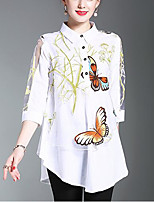 Women's Going out Casual/Daily Simple Cute Summer Fall Shirt,Print Shirt Collar 3/4 Length Sleeves Polyester Medium