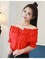 Women's Casual/Daily Sexy Blouse,Solid Off Shoulder Short Sleeves Cotton