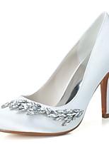 Women's Wedding Shoes Formal Shoes Satin Spring Summer Wedding Party & Evening Rhinestone Stiletto Heel Blushing Pink Black White3in-3