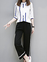 Women's Casual/Daily Simple Summer T-shirt Pant Suits,Striped Crew Neck Half Sleeves