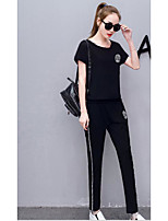 Women's Casual/Daily Simple Summer Hoodie Pant Suits,Solid Round Neck Short Sleeve