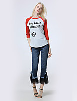 Women's Holiday Going out Casual/Daily Simple Street chic Shirt,Plaid Deep V 3/4 Length Sleeves Polyester