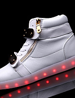 Men's Sneakers Comfort PU Spring Fall Casual LED Chain Lace-up Flat Heel Black White Under 1in