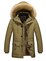 Men's Regular Padded Coat,Simple Going out Casual/Daily Solid-Cotton Rayon Cotton Long Sleeves